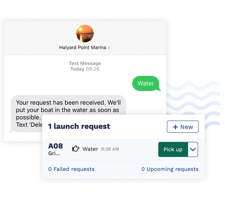 Text message request for a boat, showing that request in Dockhound